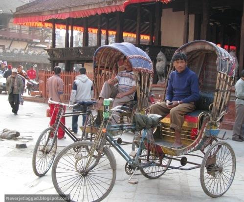 Cycle Rickshaw Pullers at durbar square kathmandu