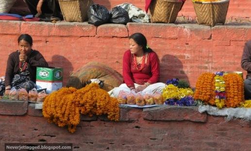 flower vendor at durbar square kathmandu