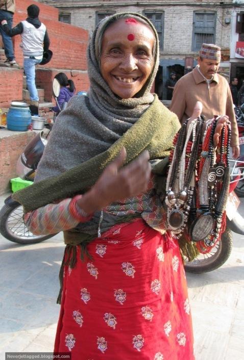Necklace seller at durbar square kathmandu