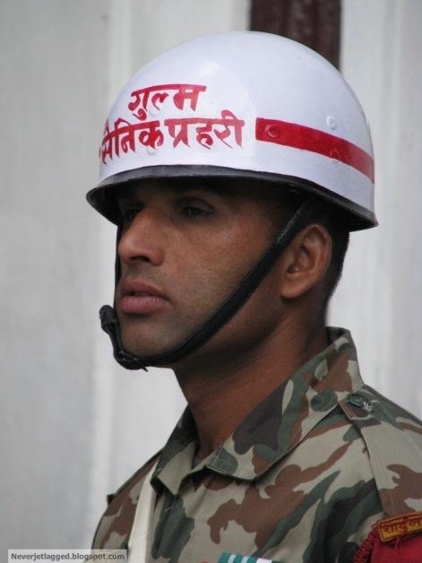 nepalese army man at durbar square kathmandu